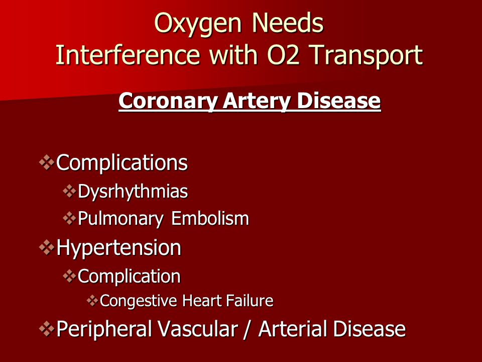 Oxygen Needs Interference with O2 Transport