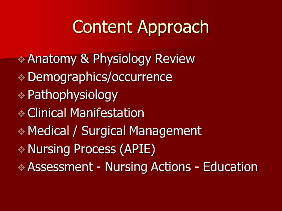 Content Approach Anatomy & Physiology Review Demographics/occurrence