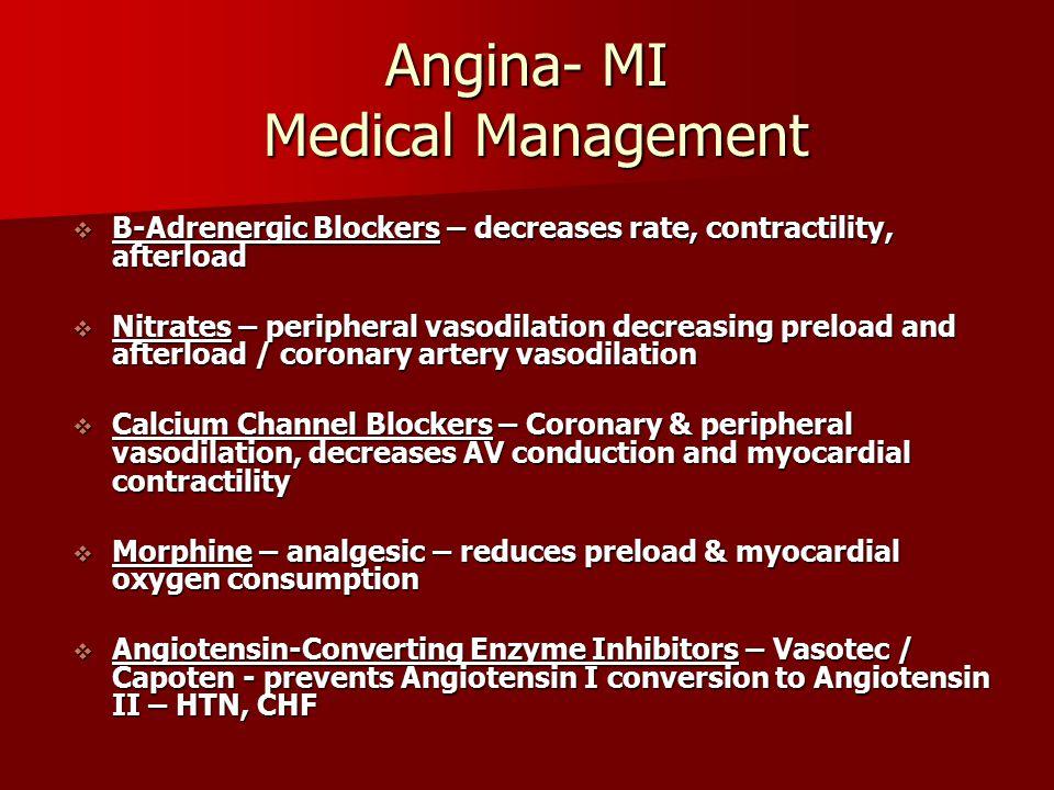 Angina- MI Medical Management