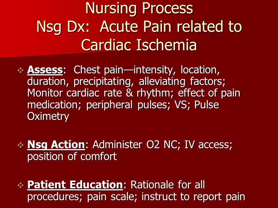 Nursing Process Nsg Dx: Acute Pain related to Cardiac Ischemia