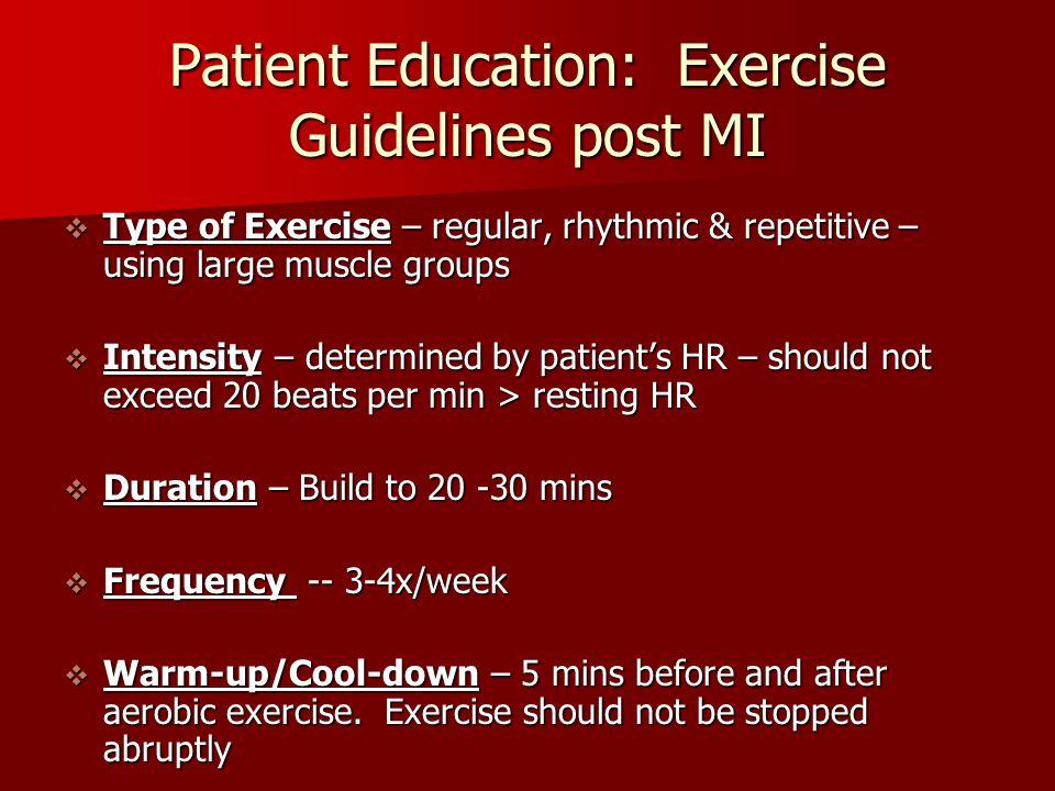 Patient Education: Exercise Guidelines post MI