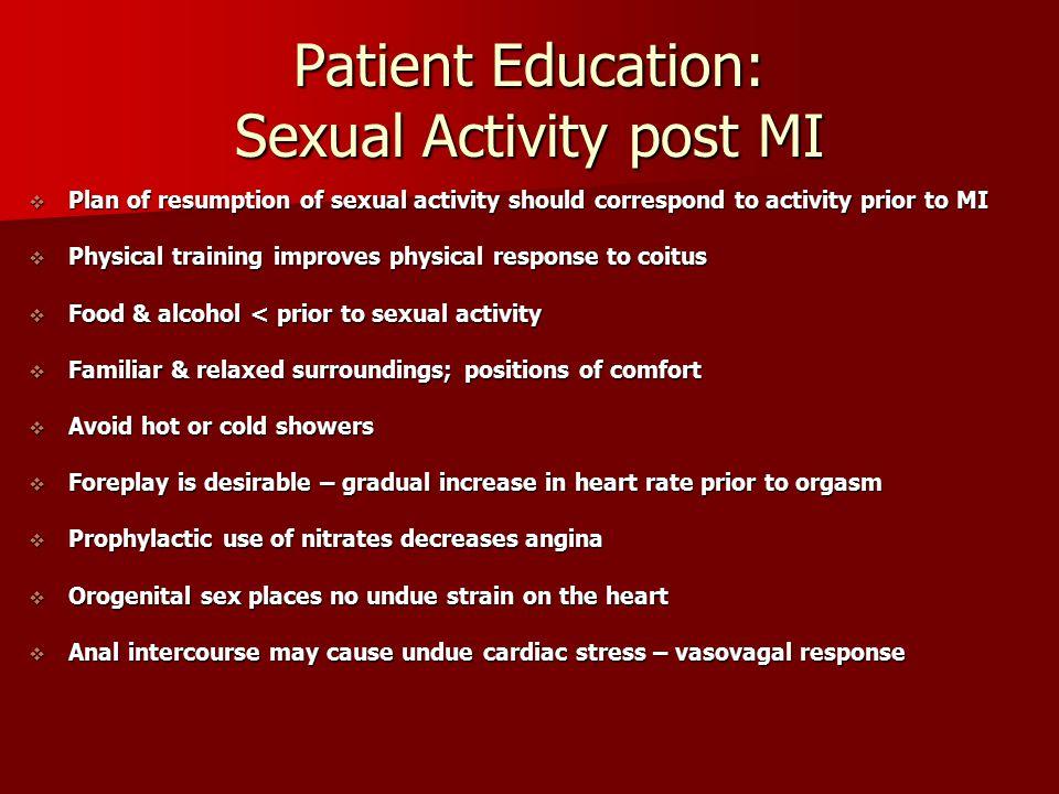 Patient Education: Sexual Activity post MI