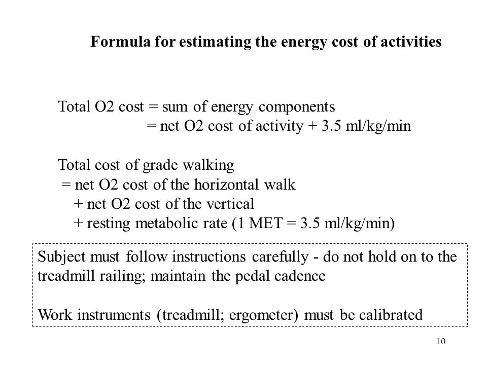 Formula for estimating the energy cost of activities