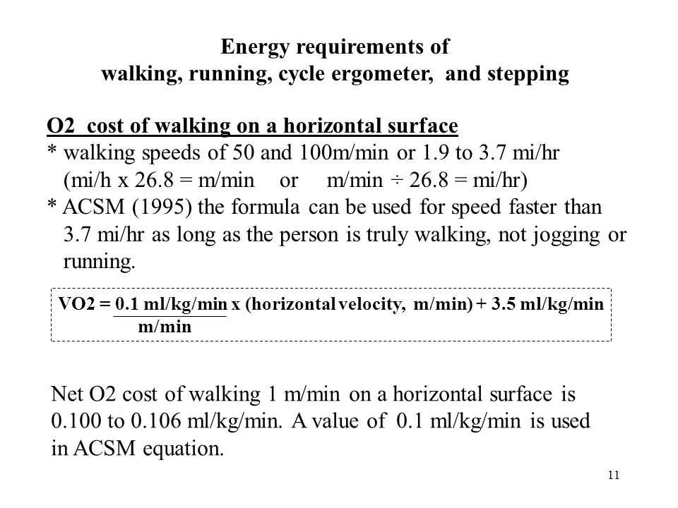 Energy requirements of walking, running, cycle ergometer, and stepping