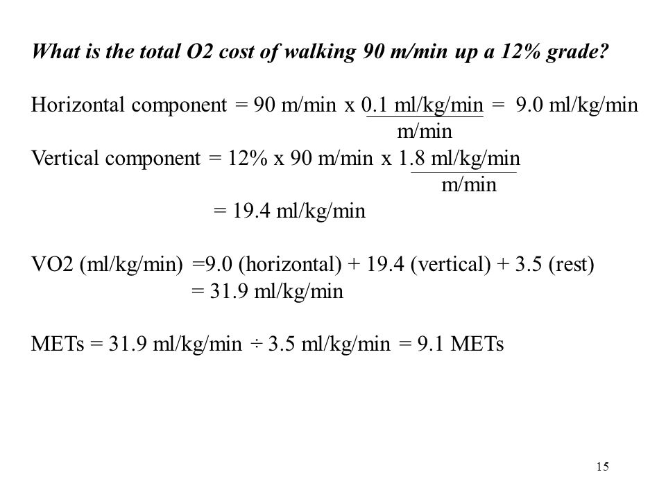 What is the total O2 cost of walking 90 m/min up a 12% grade