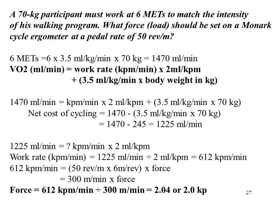 A 70-kg participant must work at 6 METs to match the intensity