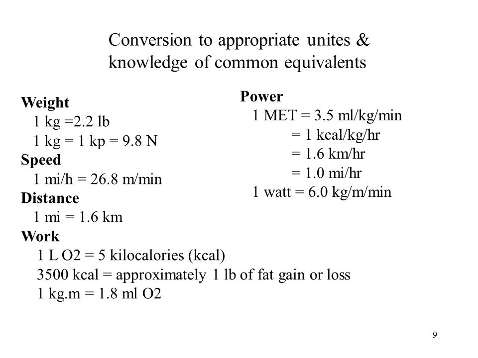 Conversion to appropriate unites & knowledge of common equivalents