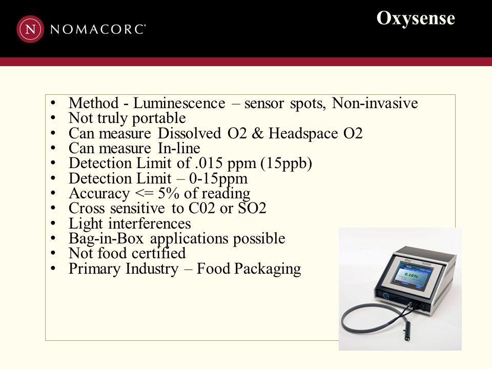 Oxysense Method - Luminescence – sensor spots, Non-invasive