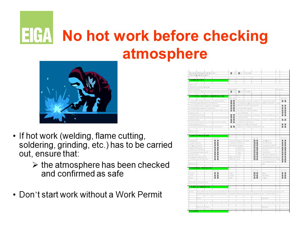 No hot work before checking atmosphere