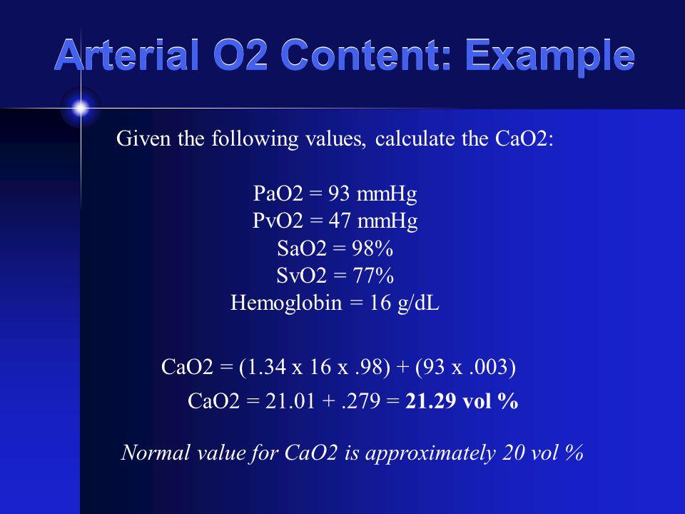 Arterial O2 Content: Example