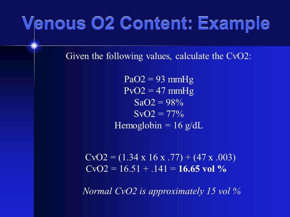 Venous O2 Content: Example