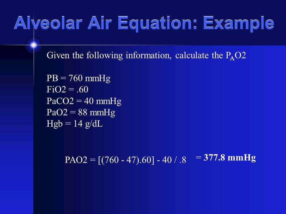 Alveolar Air Equation: Example