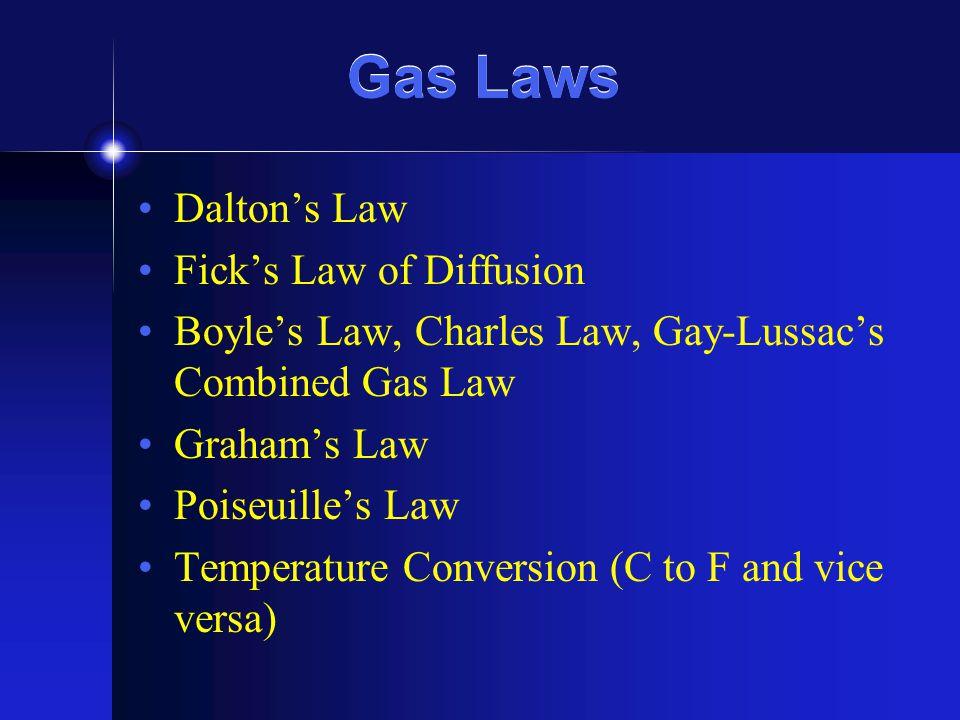 Gas Laws Dalton's Law Fick's Law of Diffusion