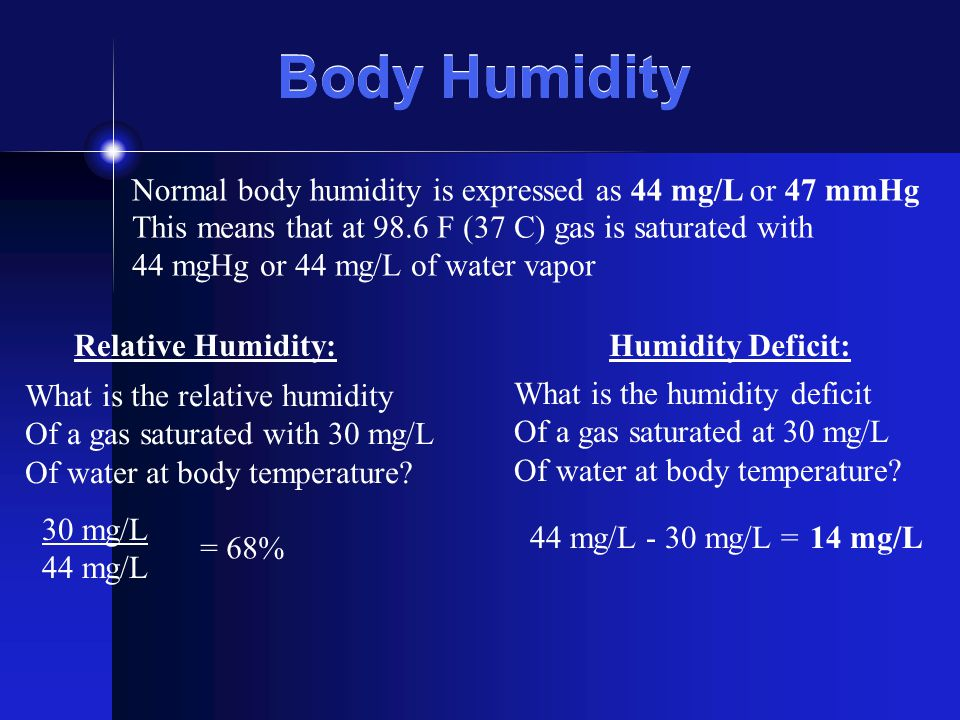 Body Humidity Normal body humidity is expressed as 44 mg/L or 47 mmHg