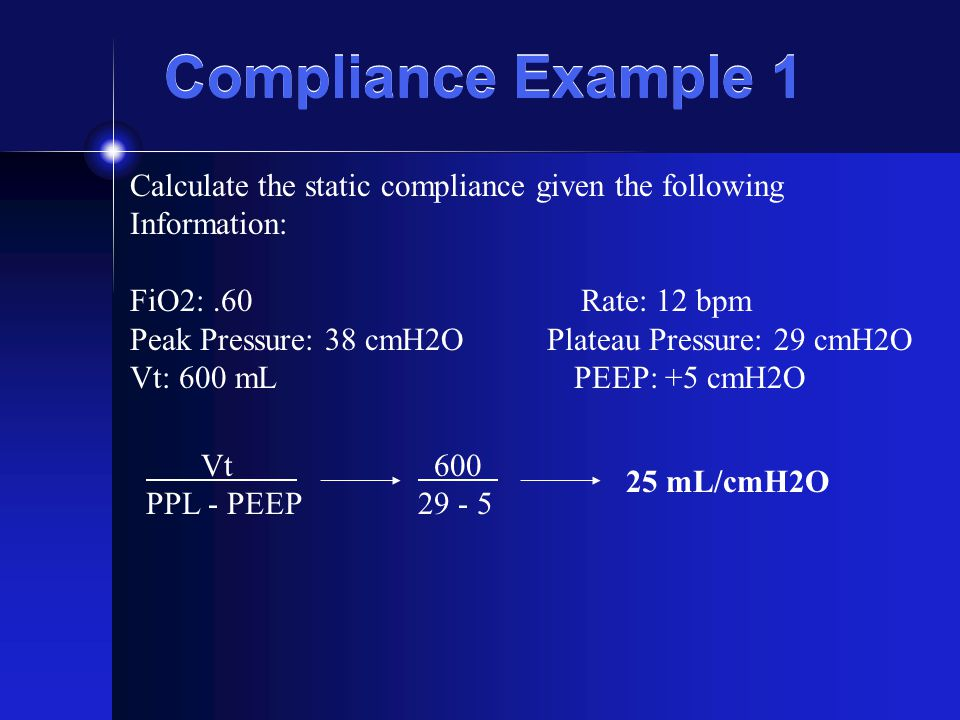 Compliance Example 1 Calculate the static compliance given the following. Information: