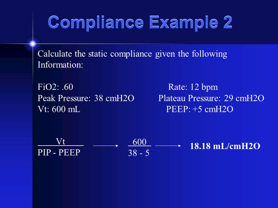 Compliance Example 2 Calculate the static compliance given the following. Information: