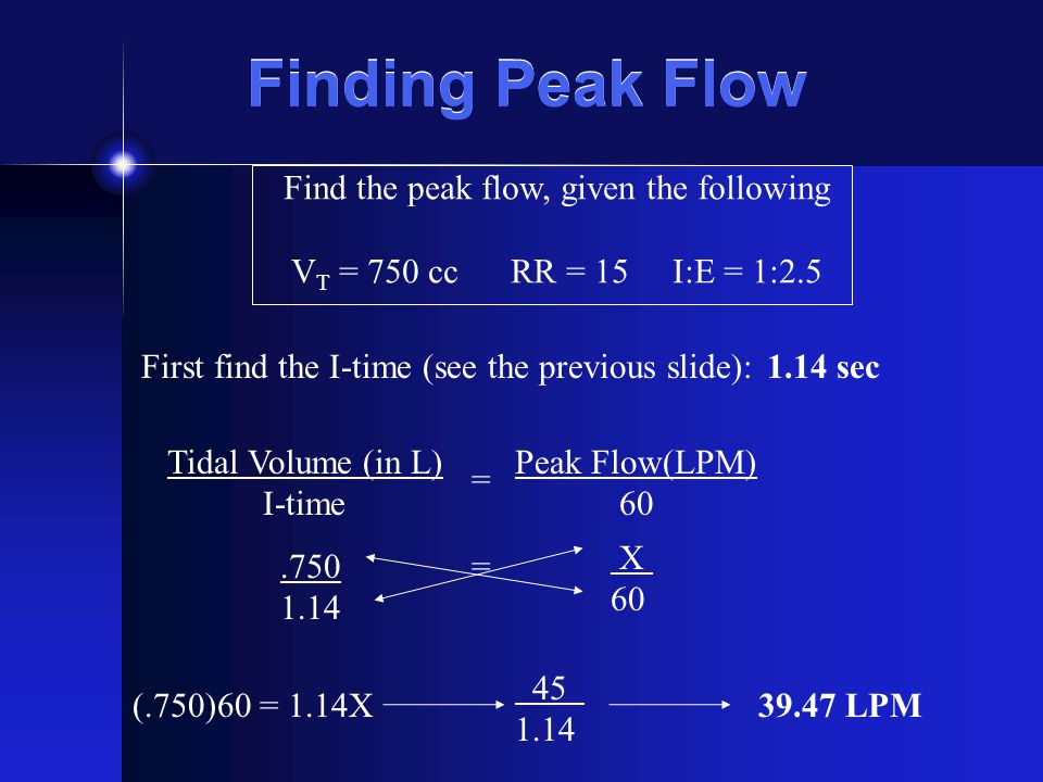 Find the peak flow, given the following