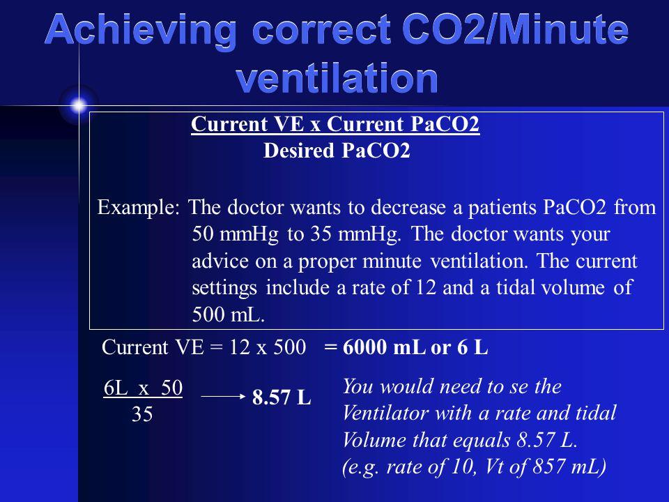 Achieving correct CO2/Minute ventilation