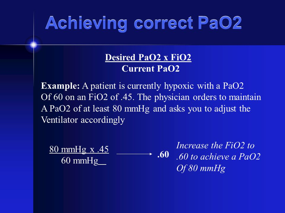 Achieving correct PaO2 Desired PaO2 x FiO2 Current PaO2