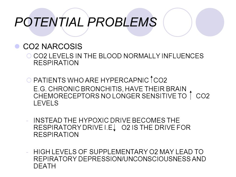 POTENTIAL PROBLEMS CO2 NARCOSIS