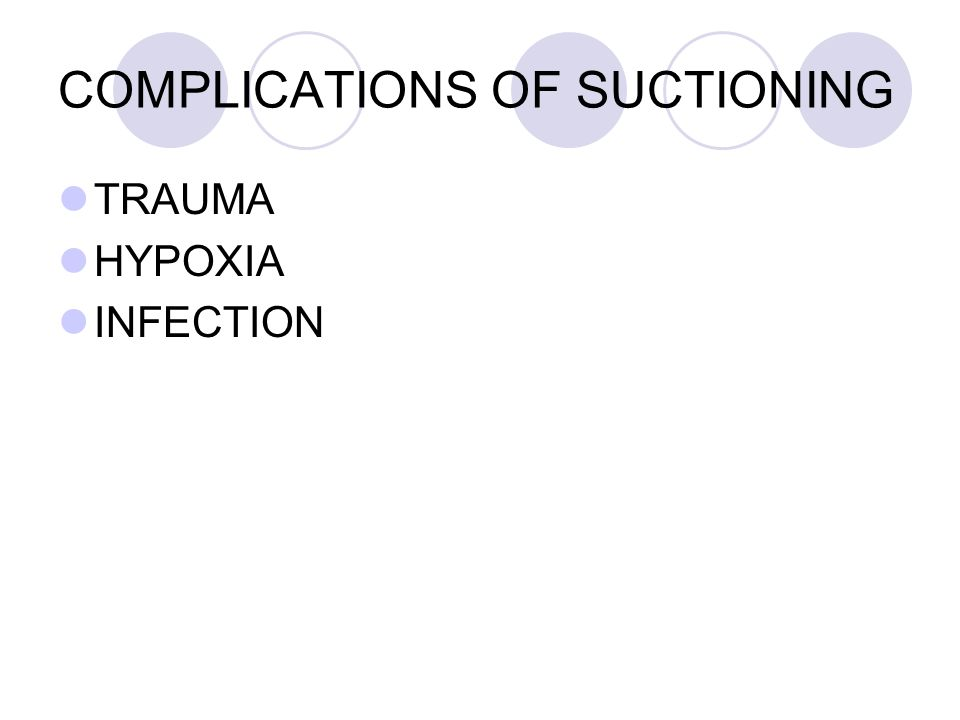 COMPLICATIONS OF SUCTIONING