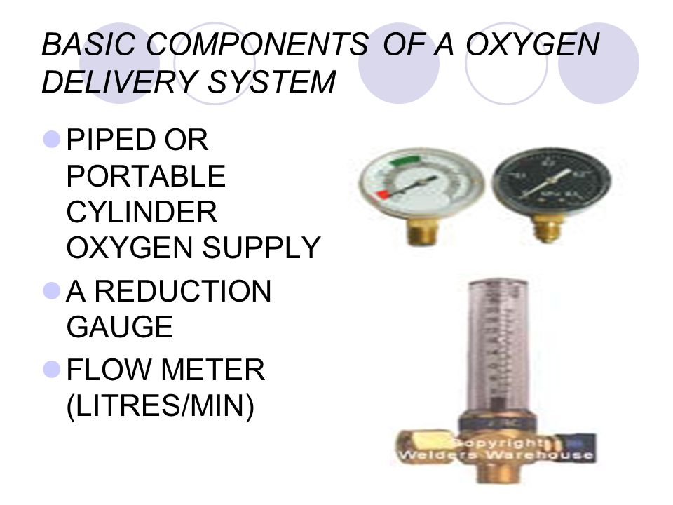 BASIC COMPONENTS OF A OXYGEN DELIVERY SYSTEM