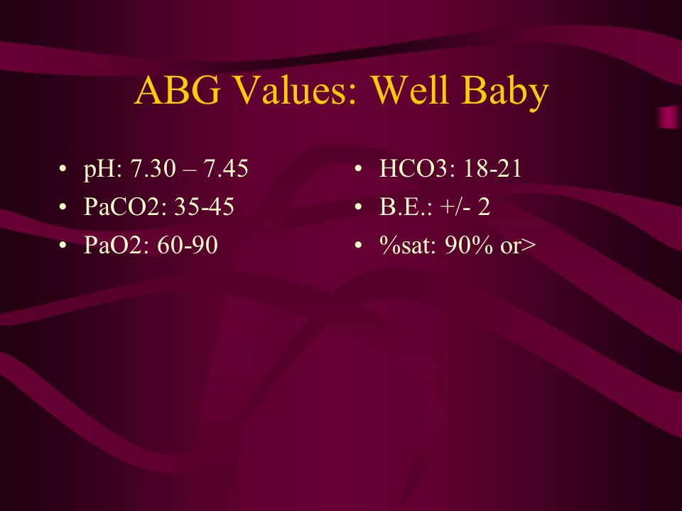 ABG Values: Well Baby pH: 7.30 – 7.45 PaCO2: 35-45 PaO2: 60-90