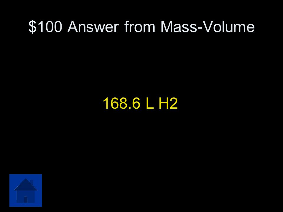 $100 Answer from Mass-Volume