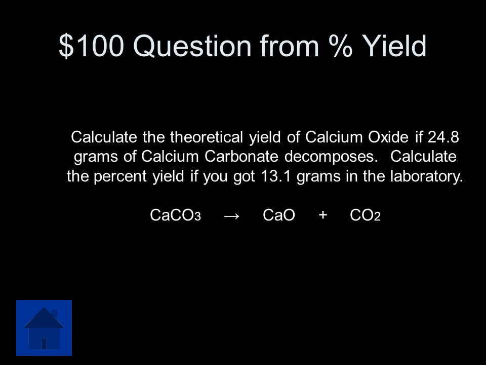 $100 Question from % Yield