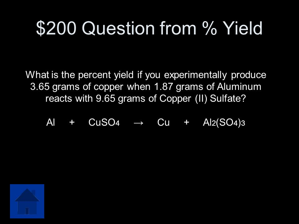 $200 Question from % Yield