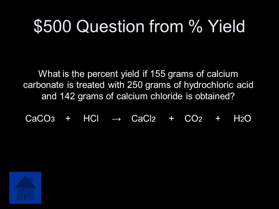 $500 Question from % Yield