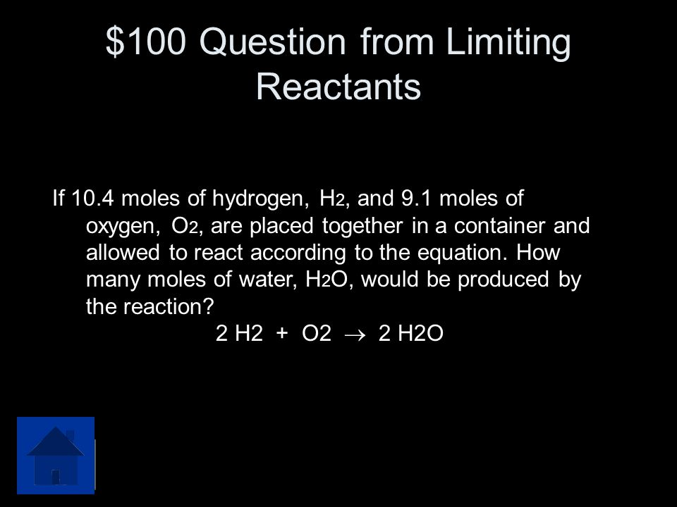 $100 Question from Limiting Reactants