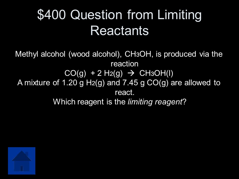 $400 Question from Limiting Reactants