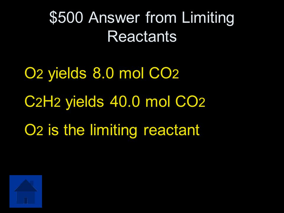 $500 Answer from Limiting Reactants