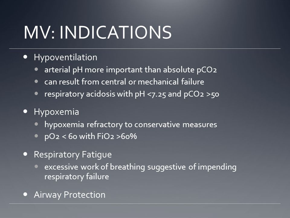 MV: INDICATIONS Hypoventilation Hypoxemia Respiratory Fatigue