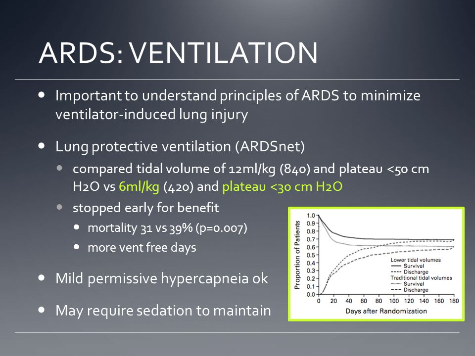 ARDS: VENTILATION Important to understand principles of ARDS to minimize ventilator-induced lung injury.