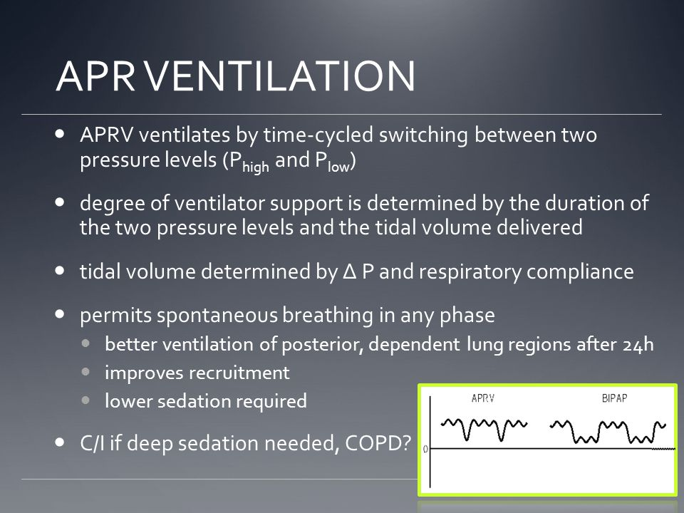 APR VENTILATION APRV ventilates by time-cycled switching between two pressure levels (Phigh and Plow)
