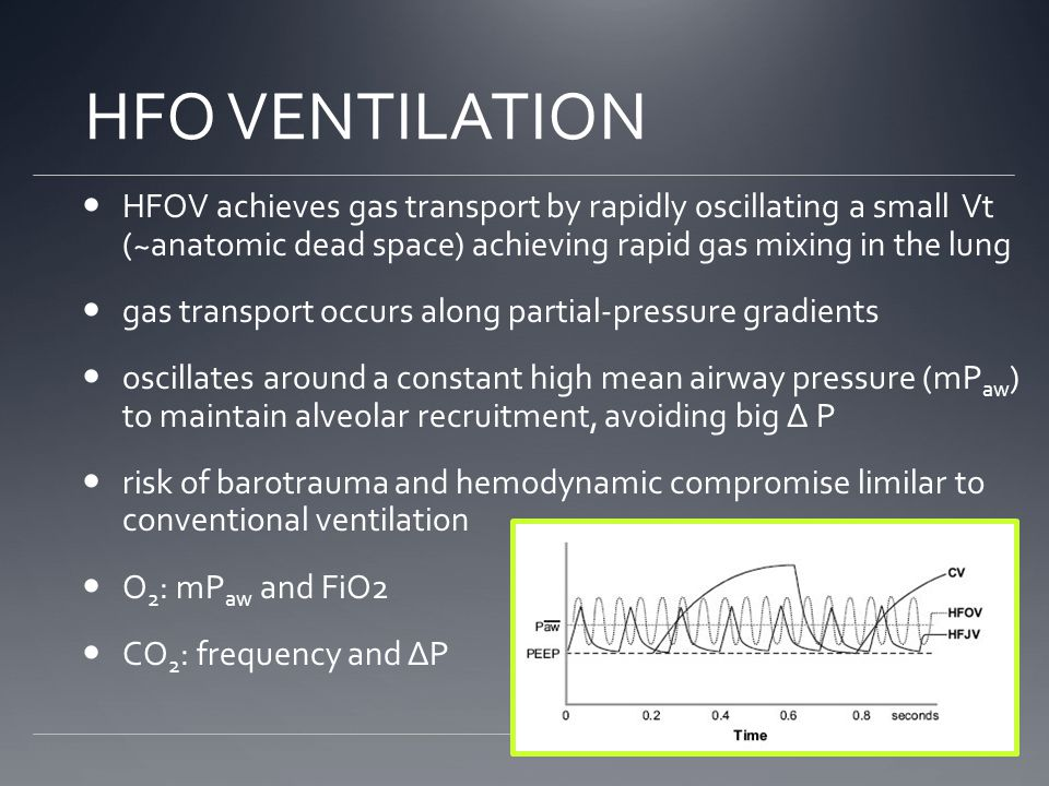 HFO VENTILATION HFOV achieves gas transport by rapidly oscillating a small Vt (~anatomic dead space) achieving rapid gas mixing in the lung.