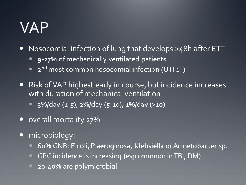 VAP Nosocomial infection of lung that develops >48h after ETT