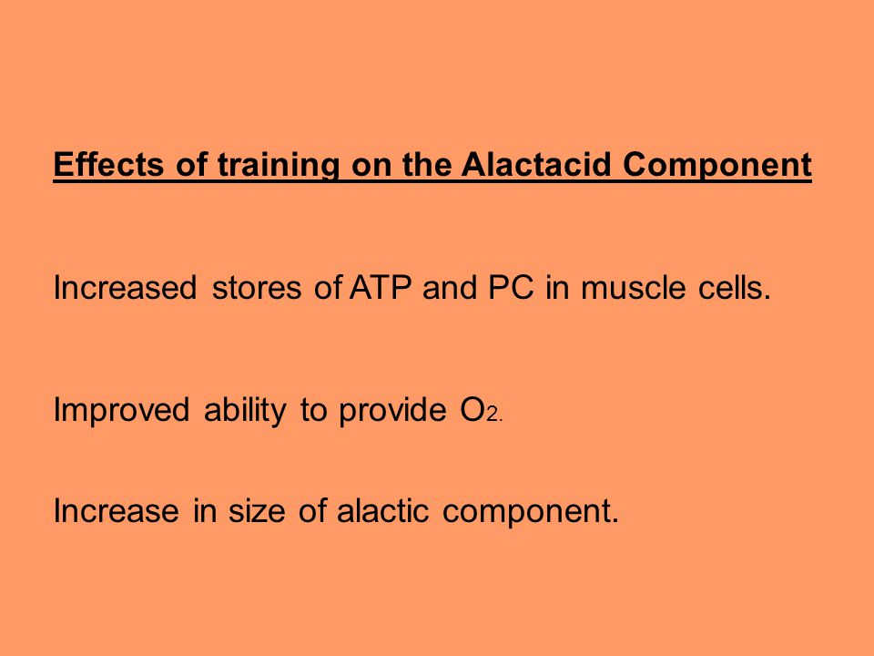Effects of training on the Alactacid Component