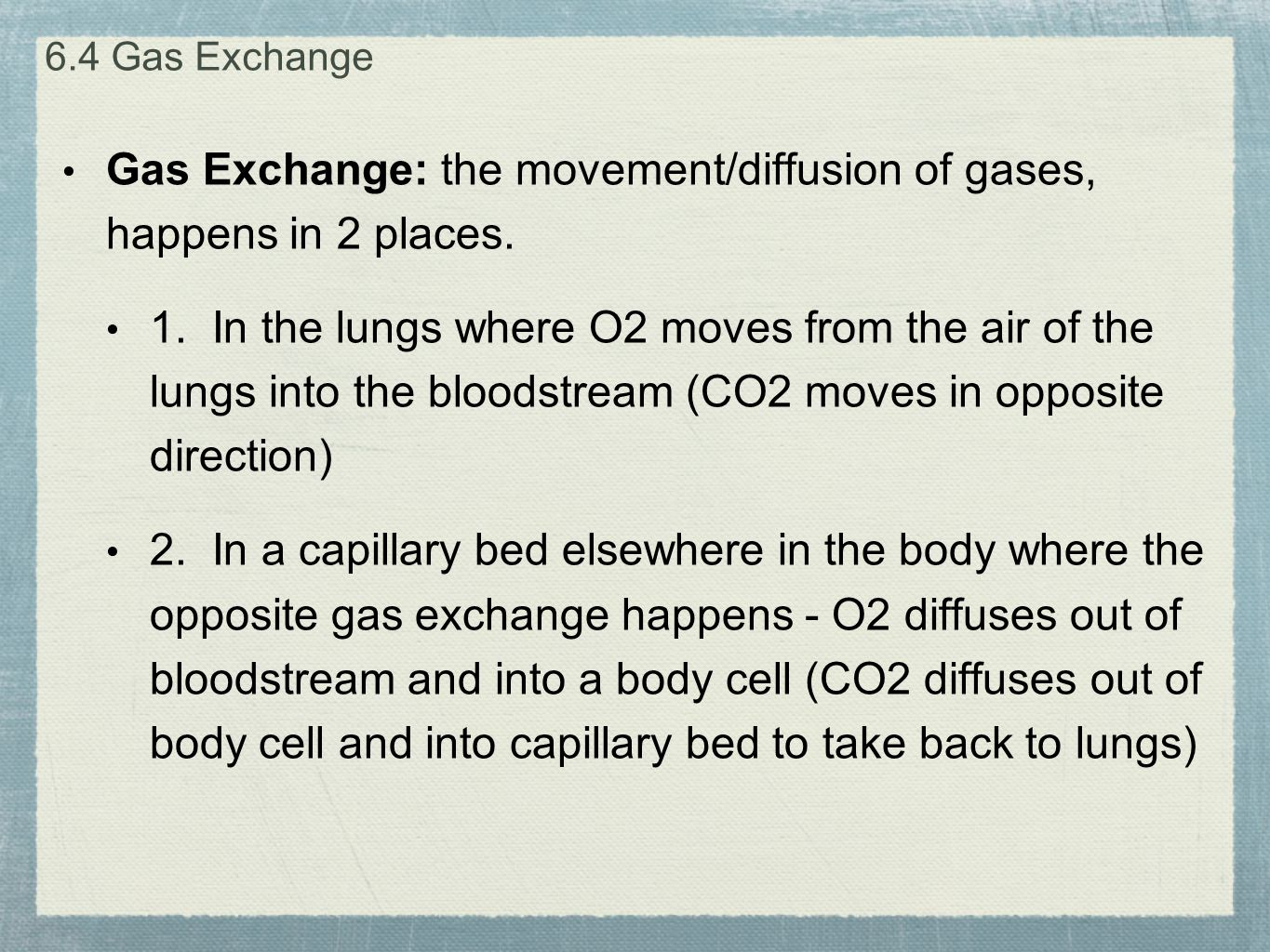 Gas Exchange: the movement/diffusion of gases, happens in 2 places.