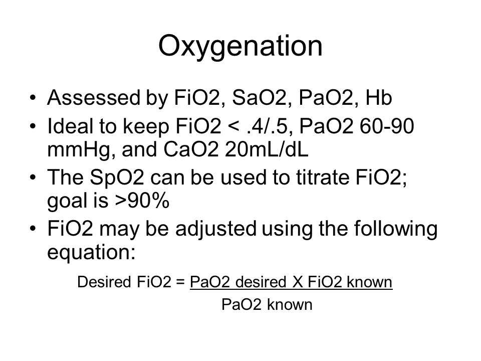 Oxygenation Assessed by FiO2, SaO2, PaO2, Hb