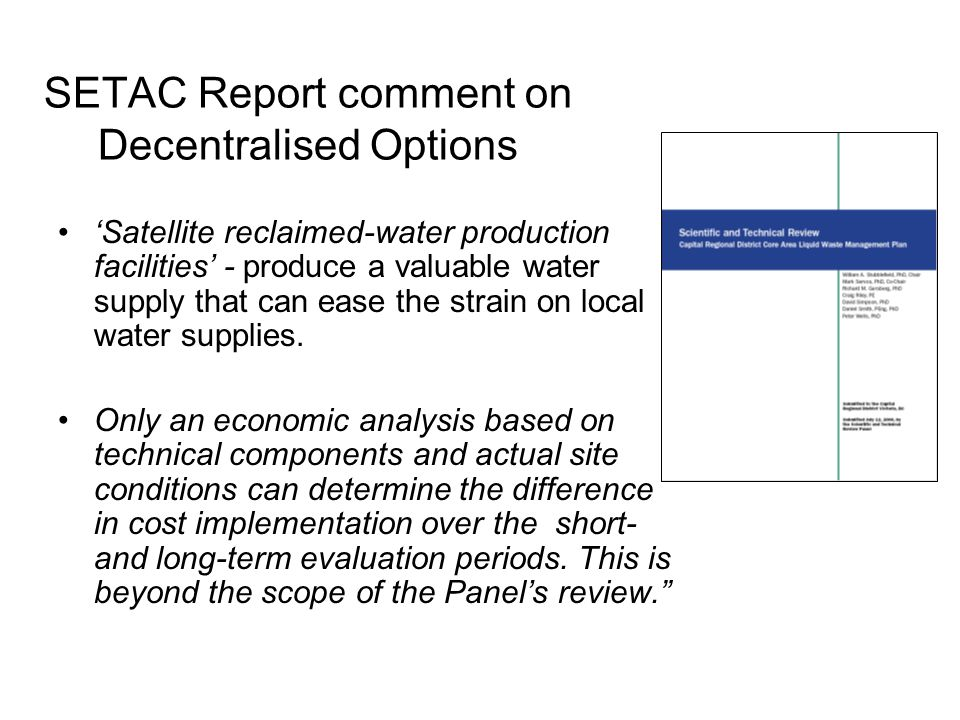 SETAC Report comment on Decentralised Options