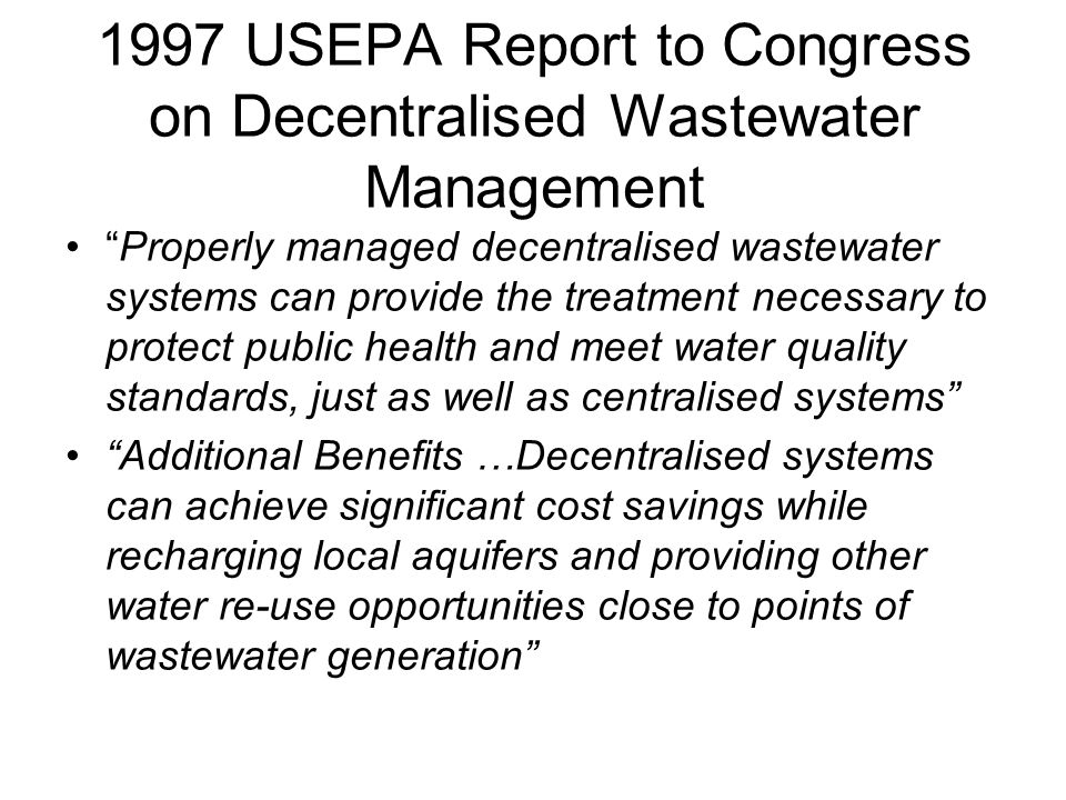 1997 USEPA Report to Congress on Decentralised Wastewater Management
