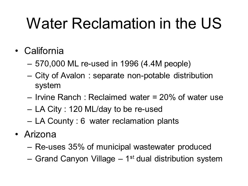 Water Reclamation in the US