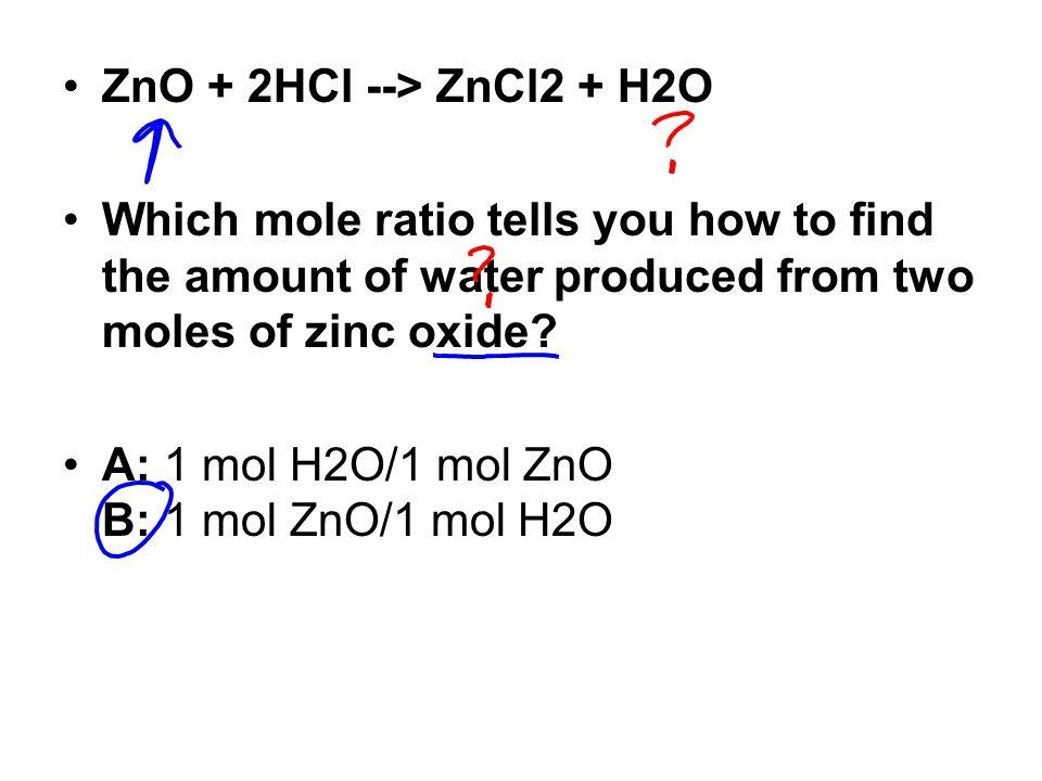 ZnO + 2HCl --> ZnCl2 + H2O