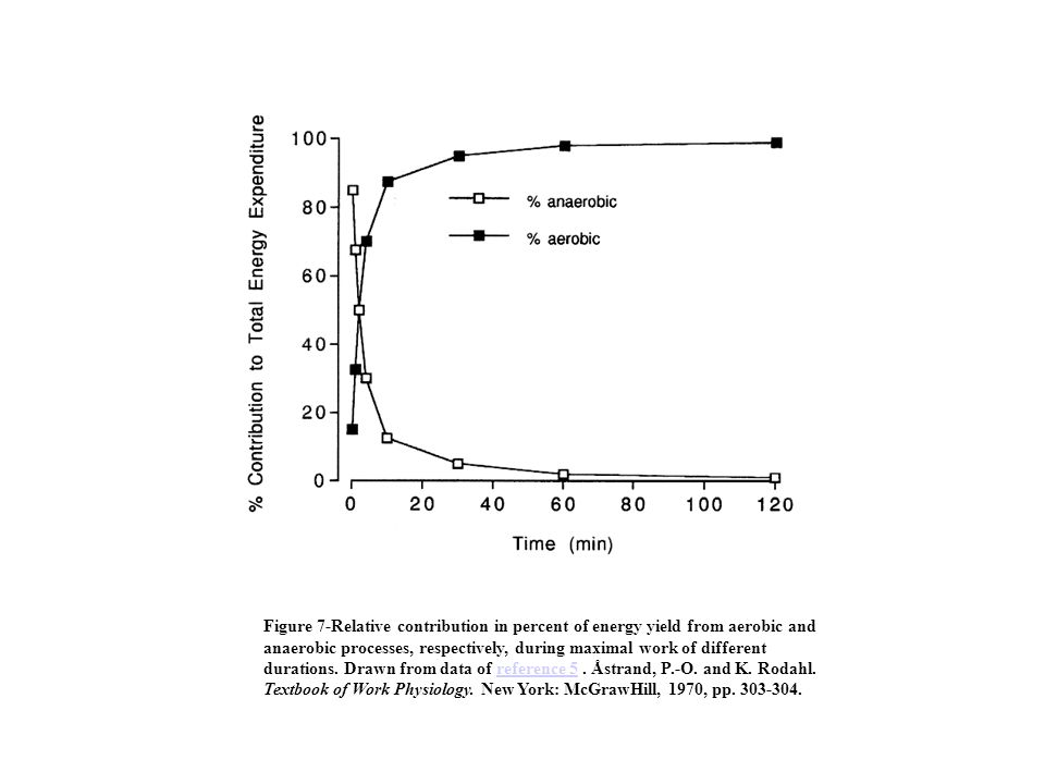 Figure 7-Relative contribution in percent of energy yield from aerobic and anaerobic processes, respectively, during maximal work of different durations.