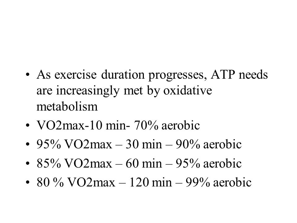 As exercise duration progresses, ATP needs are increasingly met by oxidative metabolism