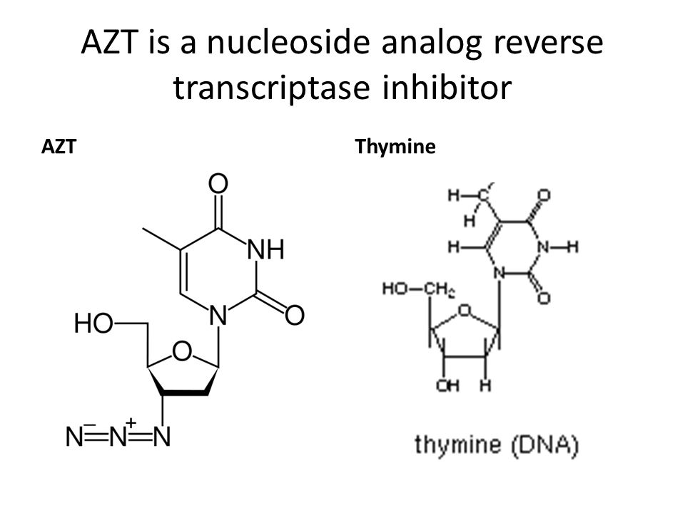AZT is a nucleoside analog reverse transcriptase inhibitor