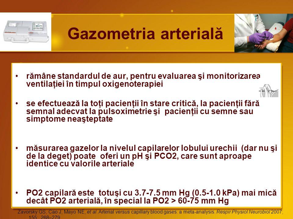 Gazometria arterială rămâne standardul de aur, pentru evaluarea şi monitorizarea ventilaţiei în timpul oxigenoterapiei.